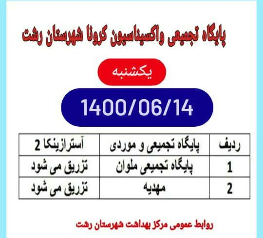 مراکز واکسیناسیون گیلان، ۱۴ شهریور ۱۴۰۰،