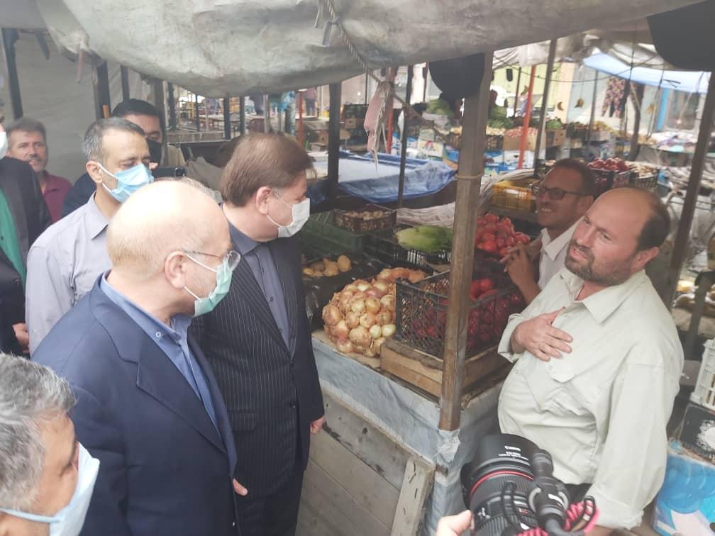 گپ وگفت صمیمانه دکتر قالیباف با بازاریان تولم شهر صومعه سرا